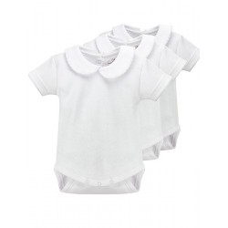 Newborn´s short sleeve one-piece with collar.