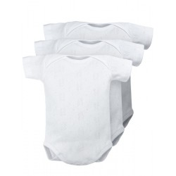 Pack 3 Unds. Body bebé cuello americano manga corta tejido calado 100% algodón.