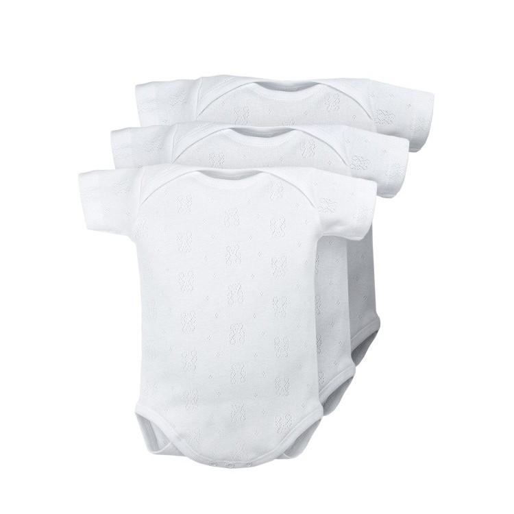 Body bebé cuello americano manga corta tejido calado 100% algodón.