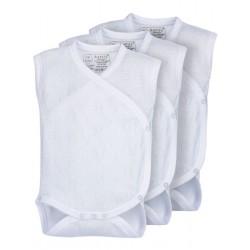 Pack 3 Unds. Body calado cruzado sin mangas recién nacido 100% algodón.