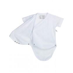 Body calado cruzado manga corta recién nacido 100% algodón.