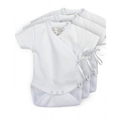 Pack 3 units short sleeve 100% Cotton Cross-Over Bodysuits.