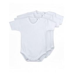 Pack 3 Unds. Body bebé manga corta 100% algodón.