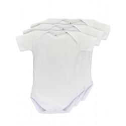 Pack 3 Unds. Body para bebé cuello americano manga corta 100% algodón.