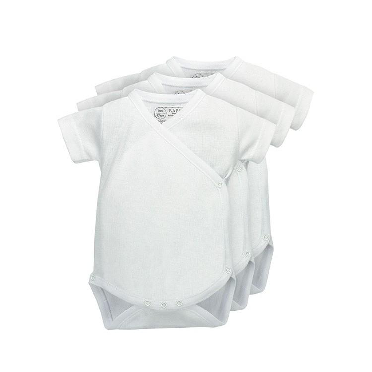 Pack 3 Unds. Body cruzado manga corta neonato 100% algodón.