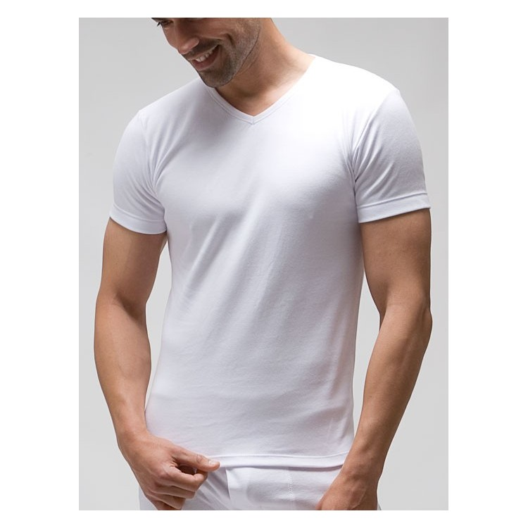 T-shirt V-neck (napped) 100% combed cotton