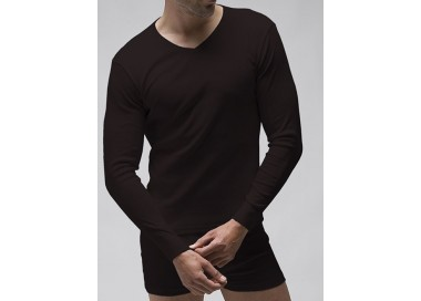 Camiseta manga larga cuello pico