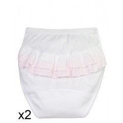 Baby briefs with ruffles.