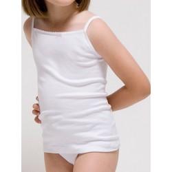 Camiseta tirante fino para niña Algodón-elastano.(Ref: 2385)