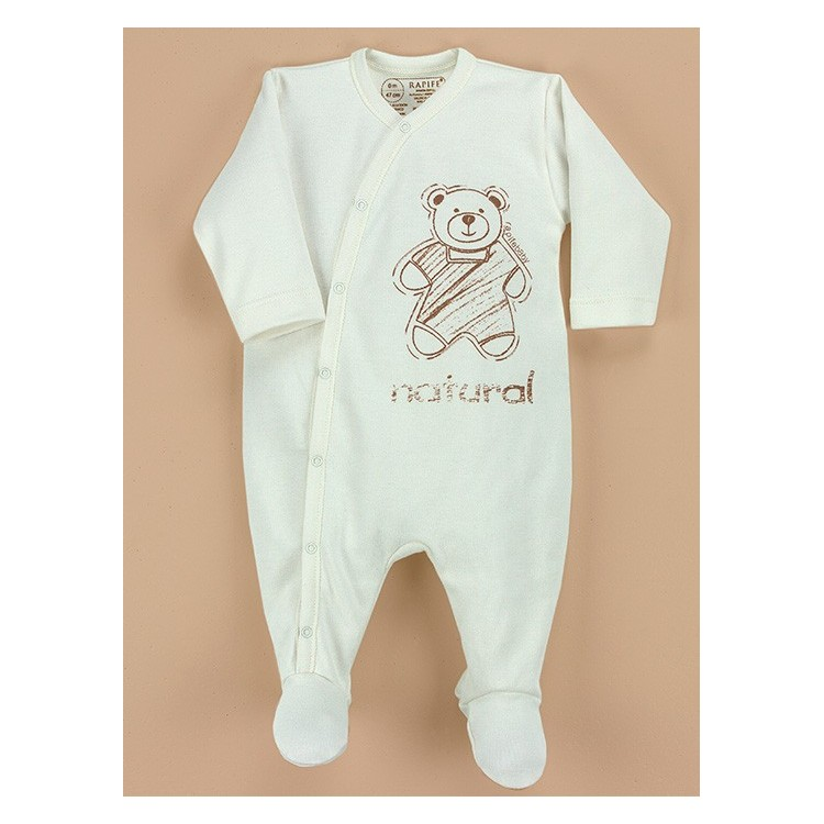 Newborn organic cotton romper for newborn.