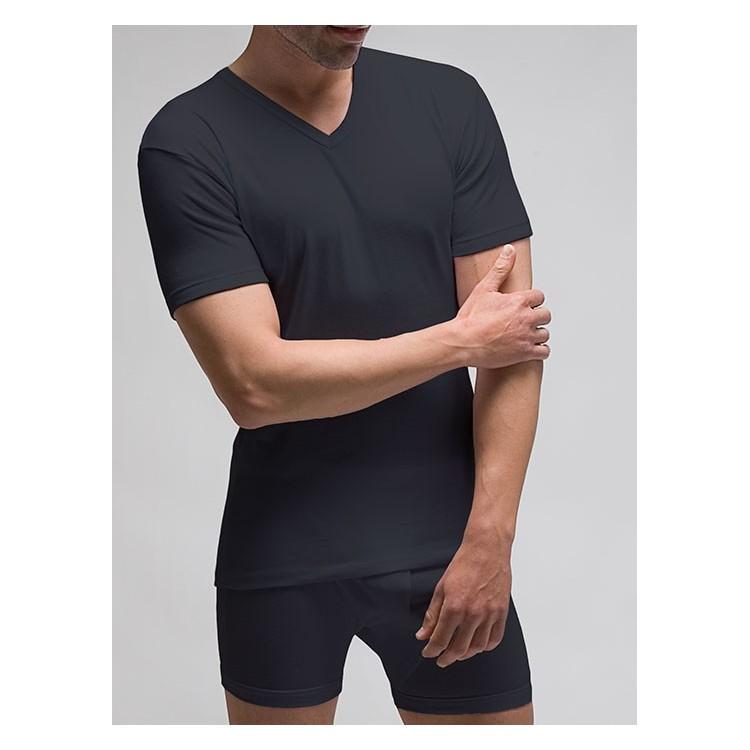 Camiseta interior hombre TERMAL manga corta y  cuello en pico 100% poliéster 1x1. (Ref: 7421)
