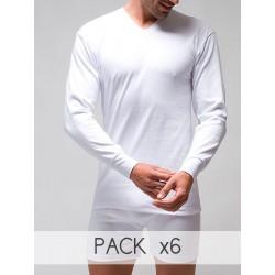 Pack 6 Unds. Camiseta interior termal hombre manga larga cuello pico 100% algodón en Interlock desagujado. (ref.731)