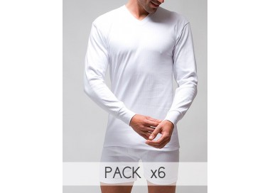 Long sleeves V-neck T-shirt drop needle interlock (napped) 100% combed cotton (ref:731)