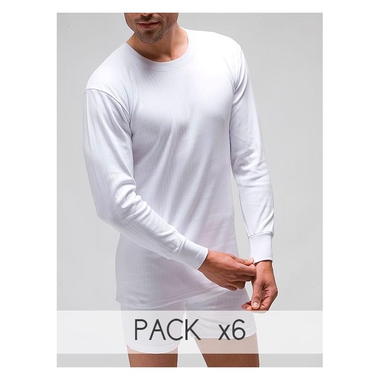 Pack 6 Unds. Camiseta interior termal hombre manga larga 100% algodón en Interlock desagujado felpado. (ref.730)