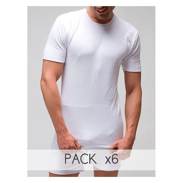 Pack 6 Unds. Camiseta interior termal hombre manga corta 100% algodón en Interlock desagujado felpado. (ref.720)