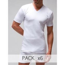 Pack 6 uds. Camiseta interior hombre TERMAL manga corta cuello pico 100% algodón en Interlock desagujado felpado. (ref.721)