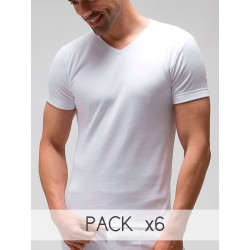 Pack 6 uds. Camiseta interior hombre TERMAL manga corta cuello pico 100% algodón Interlock desagujado felpado. (ref.821)