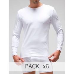 Pack 6 Unds. Camiseta interior termal manga larga hombre 100% algodón en Interlock felpado. (Rfe:830)