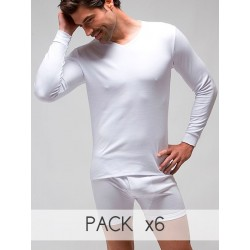 Pack 6 Unds. T-shirt long sleeves V-neck (napped) 100% combed cotton