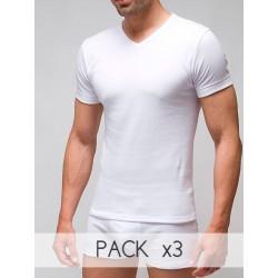 PACK 3 uds. Camiseta interior hombre manga corta cuello pico 100% algodón en 1x1. (ref.3117)