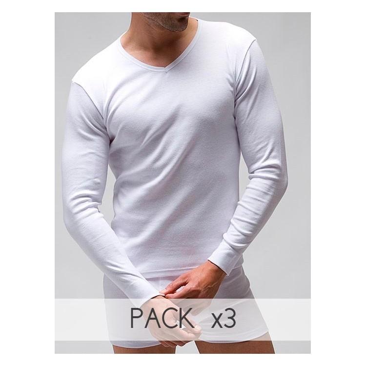 PACK 3 Unds. Camiseta interior manga larga y cuello pico hombre 100% algodón en 1x1. (ref.3120)