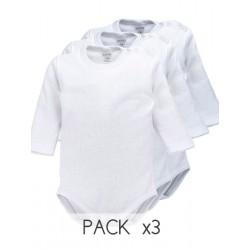 Pack 3 Unds. Body bebé manga larga 100% algodón en 1x1. (Ref:8442)
