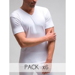 Pack 6 uds. camiseta hombre manga corta cuello pico 100% algodón 1x1 patrón clásico (ref.750)