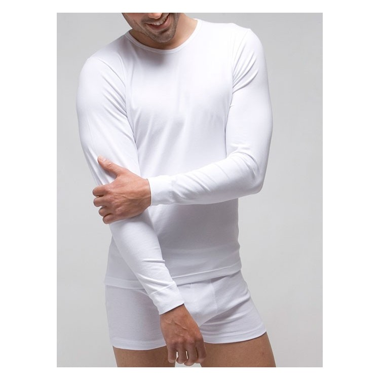 Camiseta interior hombre manga larga 96% algodón-4% elastano.