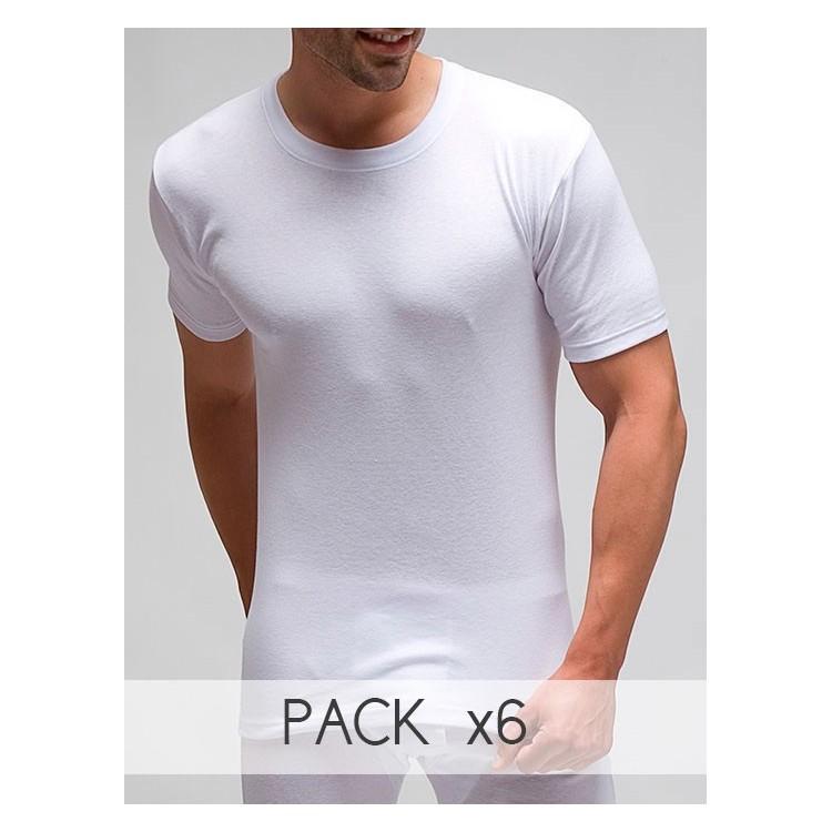 Pack 6 uds. Camiseta interior hombre manga corta en 50% algodón-50% poliéster. en 1X1. (Ref: 405)