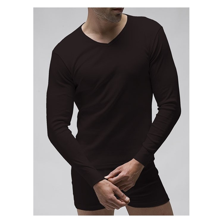 T-shirt long sleeves V-neck (napped)