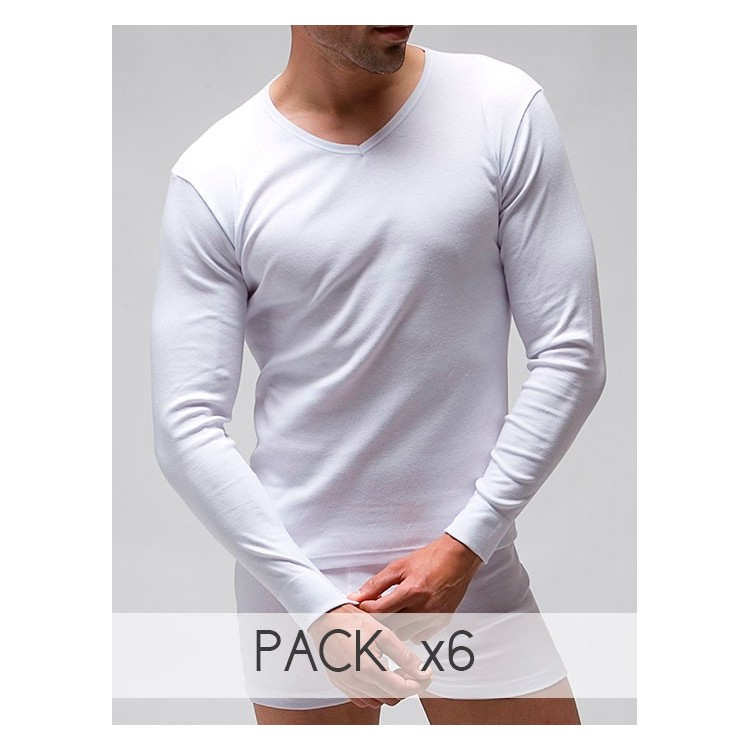 T-shirt long sleeves V-neck (napped)