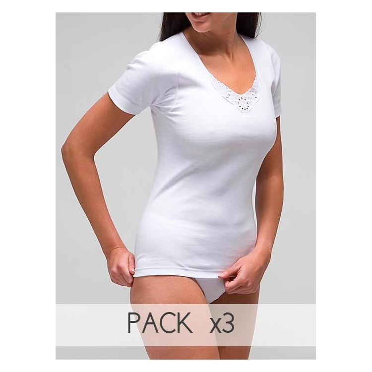 Women´s embroidered short sleeve interior t-shirt in 100% cotton