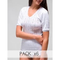 Camiseta calada manga corta
