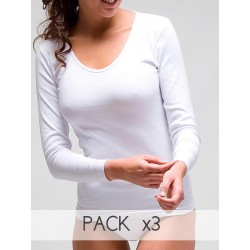 PACK 3 Unds. Camiseta termal mujer manga larga 100% algodón. (Ref: 3309)