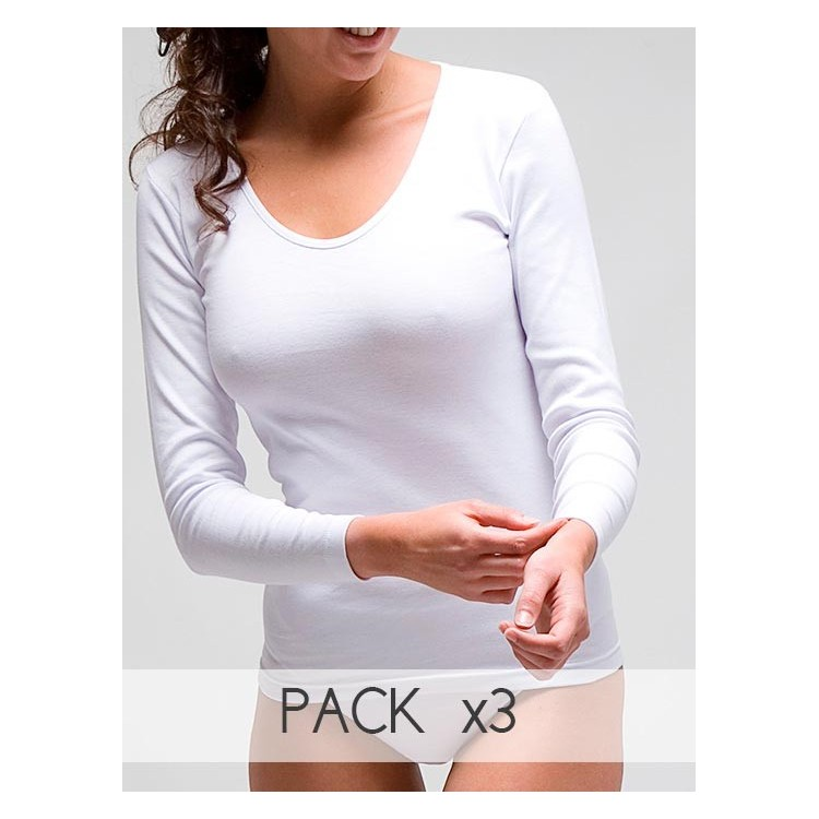 Thermal women´s long sleeve t-shirt in 100% combed cotton