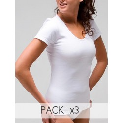 PACK 3 Unds. Camiseta termal mujer manga corta 100% algodón. (Ref: 3308)