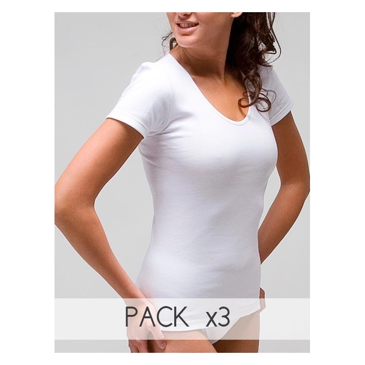 Women´s short sleeve thermal t-shirt in 100% cotton