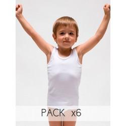 PACK 6 Unds. Camiseta interior sport infantil 100% algodón en 1x1. (Ref.410)