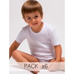 Pack 6 Unds. Camiseta interior manga corta infantil 100% algodón en 1x1. (Ref.400)