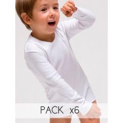 Pack 6 Unds. Camiseta interior manga larg infantil 100% algodón en 1x1. (Ref.419)