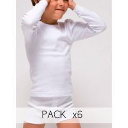 PACK 6 Unds. Camiseta infantil TERMAL manga larga 100% algodón en interlock felpado. (Ref:390).