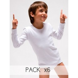 Pack 6 Unds. Camiseta infantil TERMAL manga larga interlock desagujado felpado 100% algodón. (Ref: 330)