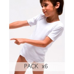 PACK 6 Unds. Camiseta infantil termal manga corta interlock desagujado felpado 100% algodón. (Ref: 320)