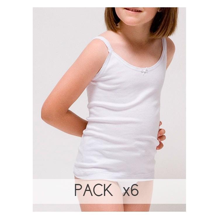 Pack 6 Unds. Camiseta tirante fino para niña de Algodón-elastano. (Ref: 2305)