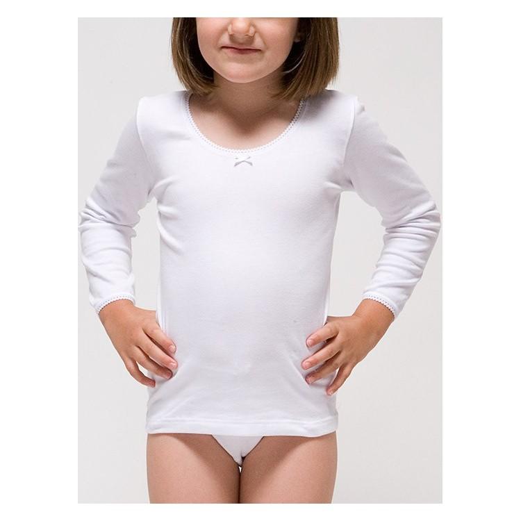 Camiseta manga larga para niña 96% algodón-4% elastano. (Ref: 2309)