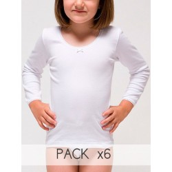 Pack 6 Uds. Camiseta manga larga para niña 96% Algodón-4 %elastano. (Ref: 2309)