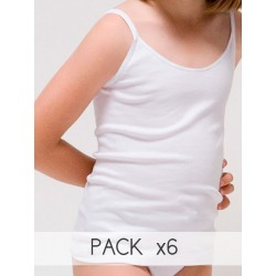 Pack 6 Und. Camiseta tirante fino para niña algodón-elastano. (Ref: 2315)