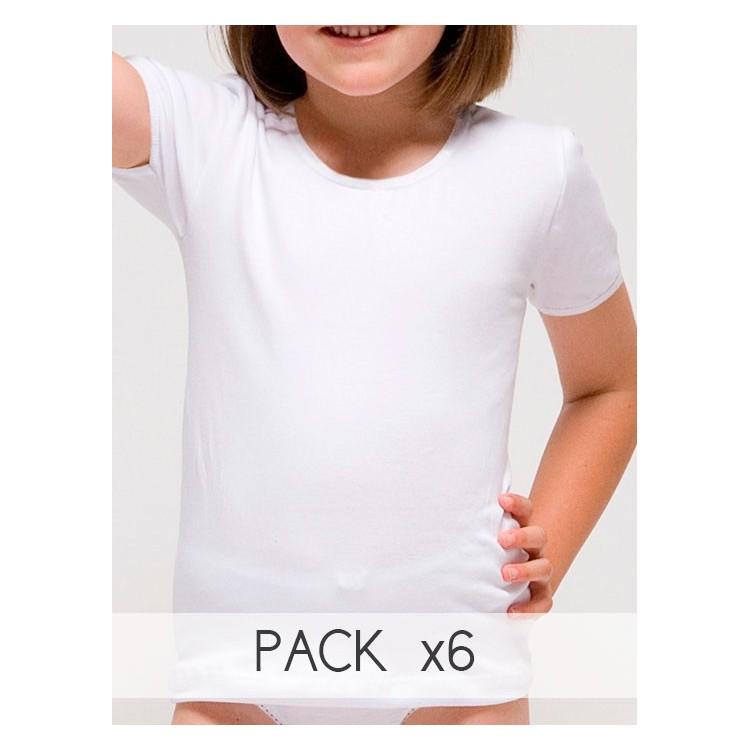 Pack 6 Unds. Camiseta manga corta para niña de algodón-elastano. (Ref: 2318)