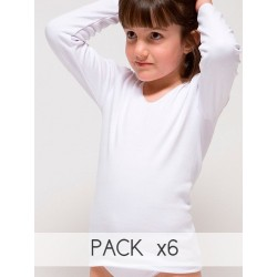 PACK 6 Unds. Camiseta manga larga para niña 96% Algodón-4% elastano. (Ref: 2320)