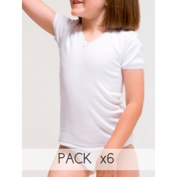 PACK 6 Unds. Camiseta interior termal manga corta 100% algodón en Interlock felpado. (Ref: 370)